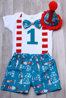 580208efc 1st birthday outfit cat in the hat Dr. Seuss smash cake outfit ...