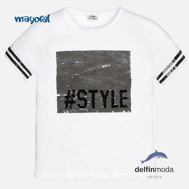 Camiseta de niña juvenil MAYORAL lentejuelas reversibles manga corta