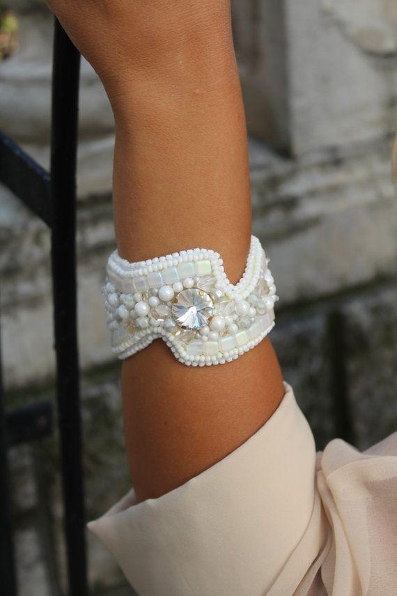 Bead embroidery bracelet  white bracelet  boho by CraftNicheDili