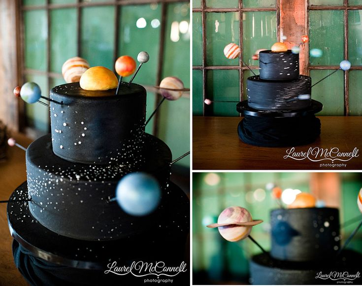 black grooms cake, which is a rotating solar system cake! animated! @Rachel Fry I just thought this was super cute. I saved it and hid until you started planning.