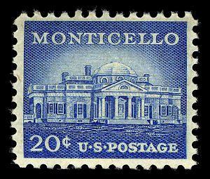 April 13, 1956: Monticello stamp. Plantation home of Thomas Jeferson. Virginia. Symmetrical plan design resembles Andrea Palladio's La Rotunda in Vicenza, Italy.