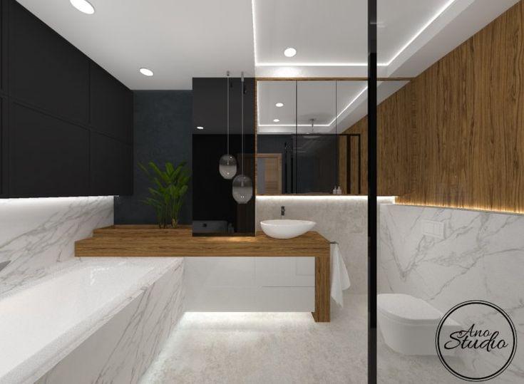 Łazienka - marmur , czerń i drewno
