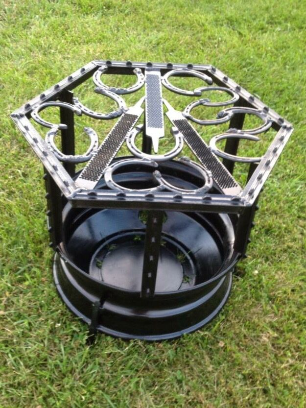 Horse Themed Fire Pit - Cook Out Grill DIY Welding Project HorseShoe Shoe Farrier Outside