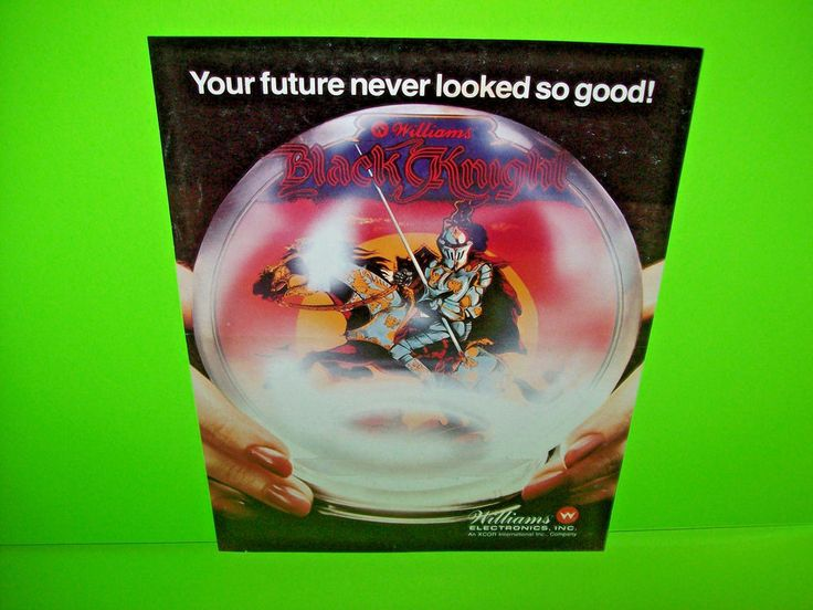Williams BLACK KNIGHT 1980 ORIGINAL Flipper Pinball Machine Promo Sales Flyer #WilliamsBlackKnight