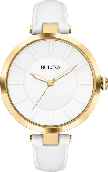 White leather strap with gold tone hardware, ladies Bulova watch Available at Gittelson Jewelers