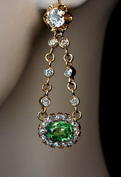 Vintage Russian earrings performed from demantoid from The Urals and diamonds. Done by Russian jewelers in early 1900s ~