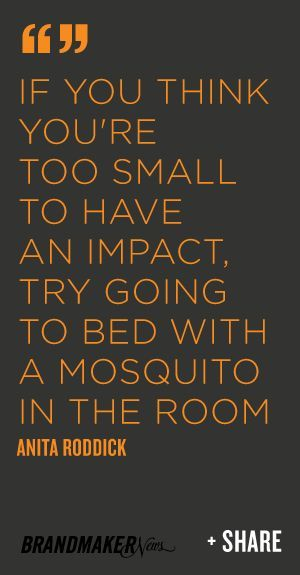 If you think you're too small to have an impact, try going to bed with a mosquito in the room -Anita Roddick brandmakernews.com