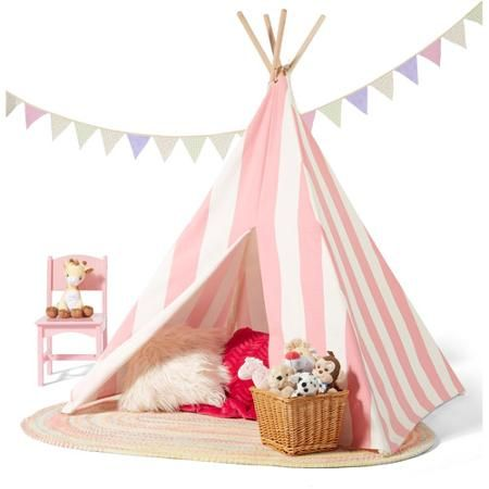 Children's Teepee Tent, Pink/White Stripes - Walmart.com