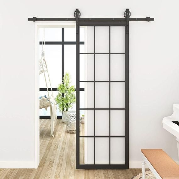 Diyhd 30 X 86 5 Inch Black Steel Framed Glass Barn Door Slab Interior Clear Tempered Glass Sliding Barn Door Panel Glass Barn Doors Sliding Door Design Sliding Glass Door