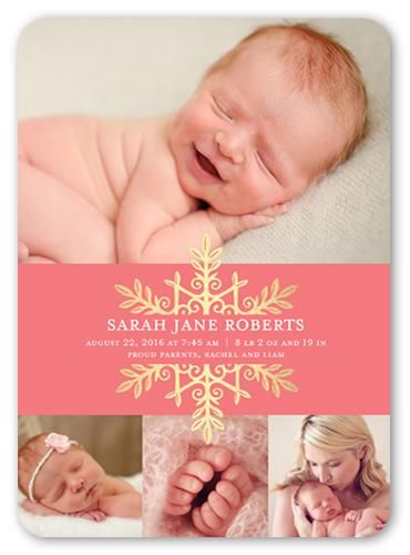 Snowflake Name Girl 5x7 Stationery Card by Yours Truly. Announce your newest arrival with this stylish birth announcement. Add  your baby's name, a favorite photo and the news everyone's been waiting for.