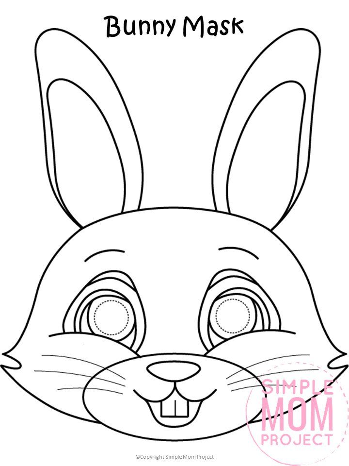 Free Printable Easter Bunny Mask Template Bunny Coloring Pages