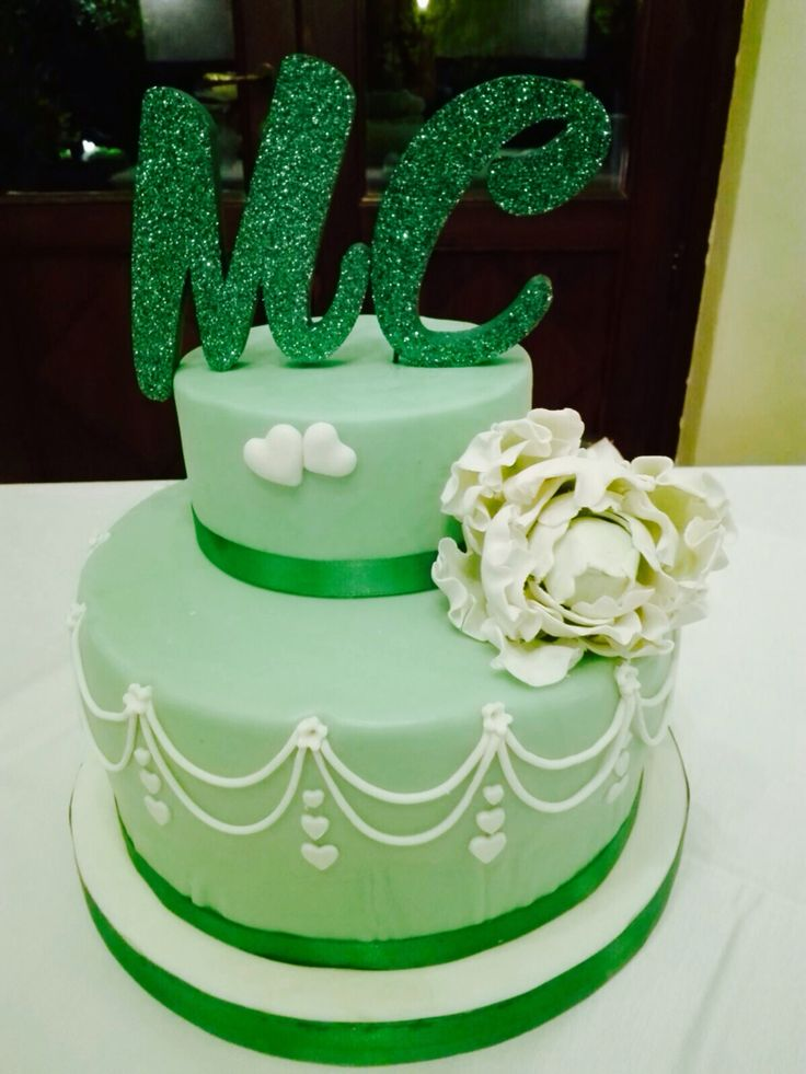 Torta promessa di matrimonio, green cake , white peony