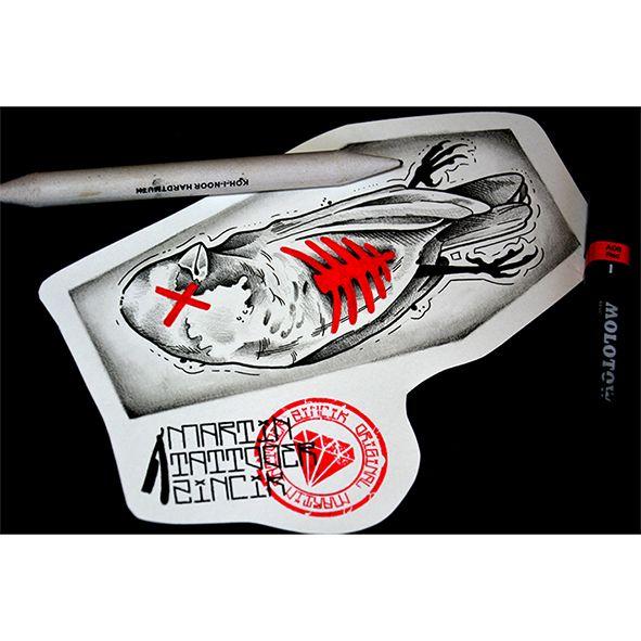 Martin Tattooer Zincik - Czech tattoo artist - Dead bird black work tattoo design, tetování Praha / Chrudim