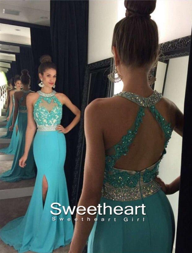 A-line Round Neck Open Backless Long Prom Dresses, Formal Dress,green prom dress,prom 2k16,evening dress