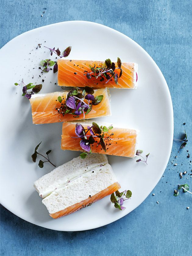 smoked salmon, wasabi and radish finger sandwiches