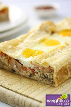 High Protein Recipes: Breakfast Ricotta Slice. #HealthyRecipes #DietRecipes #WeightlossRecipes weightloss.com.au