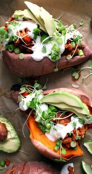 Sweet potato - Voted best nutritional vegetable of 2015 accompanied by pinto beans and more. Great source of vegetable protein, fibre and complex carbohydrate.