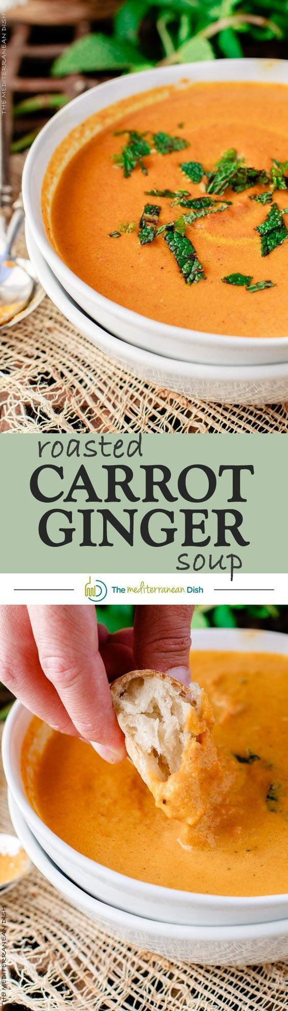 Roasted Carrot Ginger Soup - An easy roasted carrot soup prepared with Mediterranean spices, garlic, fresh ginger and a touch of fresh mint.