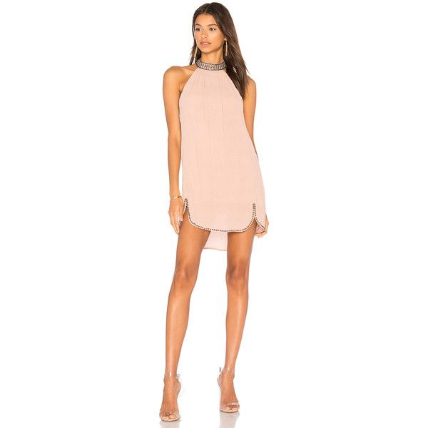 NBD x REVOLVE Lourdes Dress ($195) ❤ liked on Polyvore featuring dresses, night out dresses, pink cocktail dress, embellished cocktail dresses, mini dress and mini party dresses