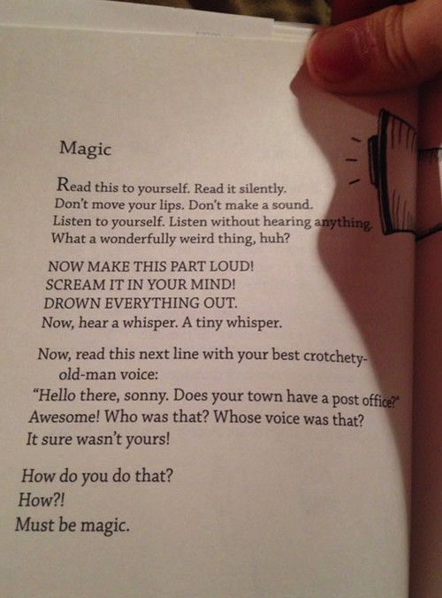 This is the most inspiring thing I have ever read. Great for teaching students to read to themselves and visualize what they read