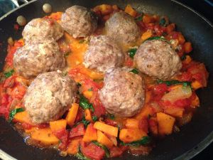 Italian Style Meatballs over Caramelized Onions and Sweets