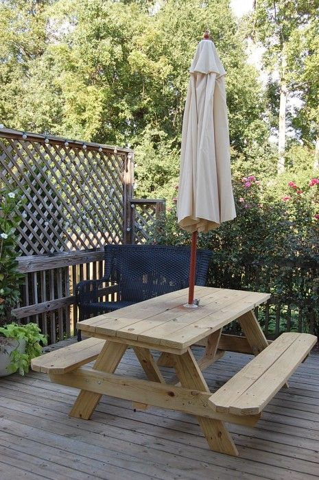 Old-fashioned picnic table