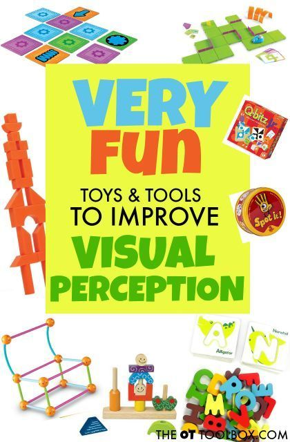 Use these toys and tools to help kids develop and improve visual perception needed for handwriting, reading, and writing. #visualperception #visualperceptualskills #vision #visualskills #visualprocessing #activitiesforvisualperceptualskills #OT #OccupationalTherapy #occupationaltherapyactivities