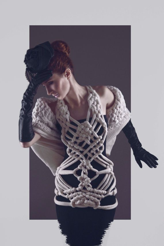 OOAK Avant-Garde Off-White Knit Cables Vest with Eastern Knot Technique