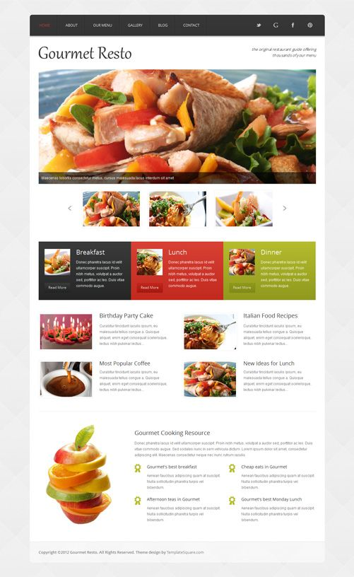 Restaurant Website Template - decent look and feel, not enough content up top