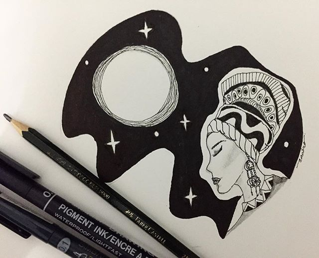 "Dedicated to the silver moon and the starry sky I sit under tonight. ------- ""Anyone who knows me, should learn to know me again; For I am like the moon, you will see me with new face everyday."" ~Rumi . . . #blackwhite #drawing #pen #ink #night #turban #lady #moon #starrynight  #darkskies  #Rumi #poem #illustration"
