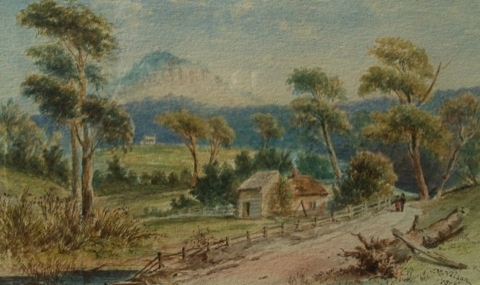 View of Calstock and Quamby Bluff, Tasmania (1873), John McKirdy Nelson (1895-1881), 19.5 x 32 cm Watercolour