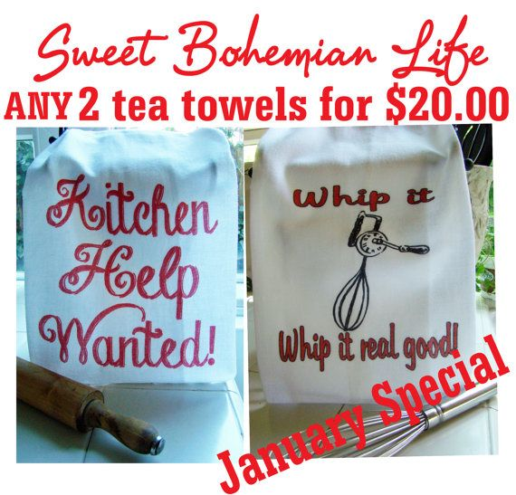 Flour sack towel sale, 2 tea towels for 20 dollars-January Special - Order any 2 printed flour sack towels from my site for Twenty Dollars
