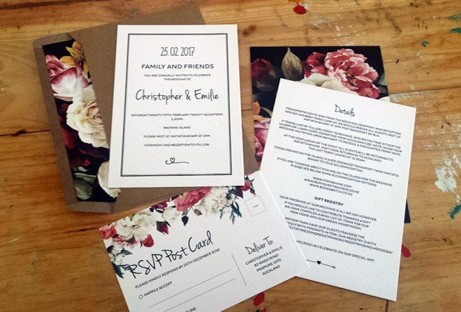 Floral wedding invitation by Beechtree Creative.