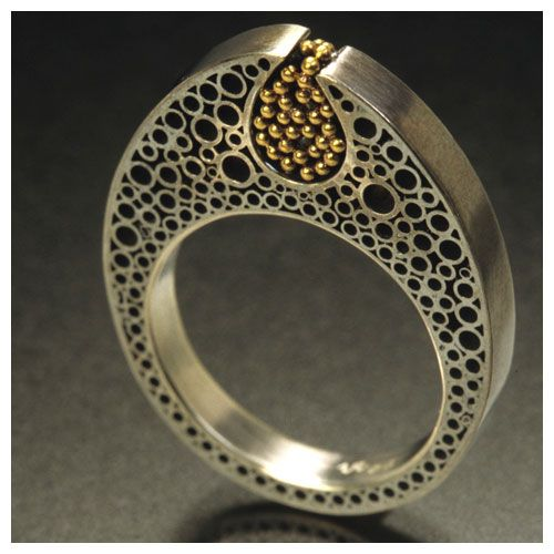 Vina Rust - Ring #4 - Stamen Series - Hand-fabricated, granulation  Sterling Silver, 14ct gold, liver of sulfur patina, 2004