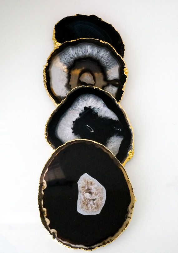 Gold rim BLACK agate coasters. geode coasters. by lilpengeeGems