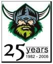 Canberra Raiders 25 Years logo