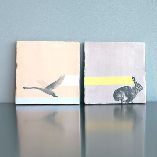 Art on Tiles - Made in Holland - Dutch Design by Marga van Oers. Title: Swan & Rabbit.