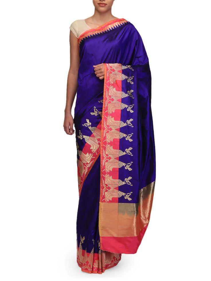 Ekaya Blue Silk Sari | Ekaya | BYELORA.COM