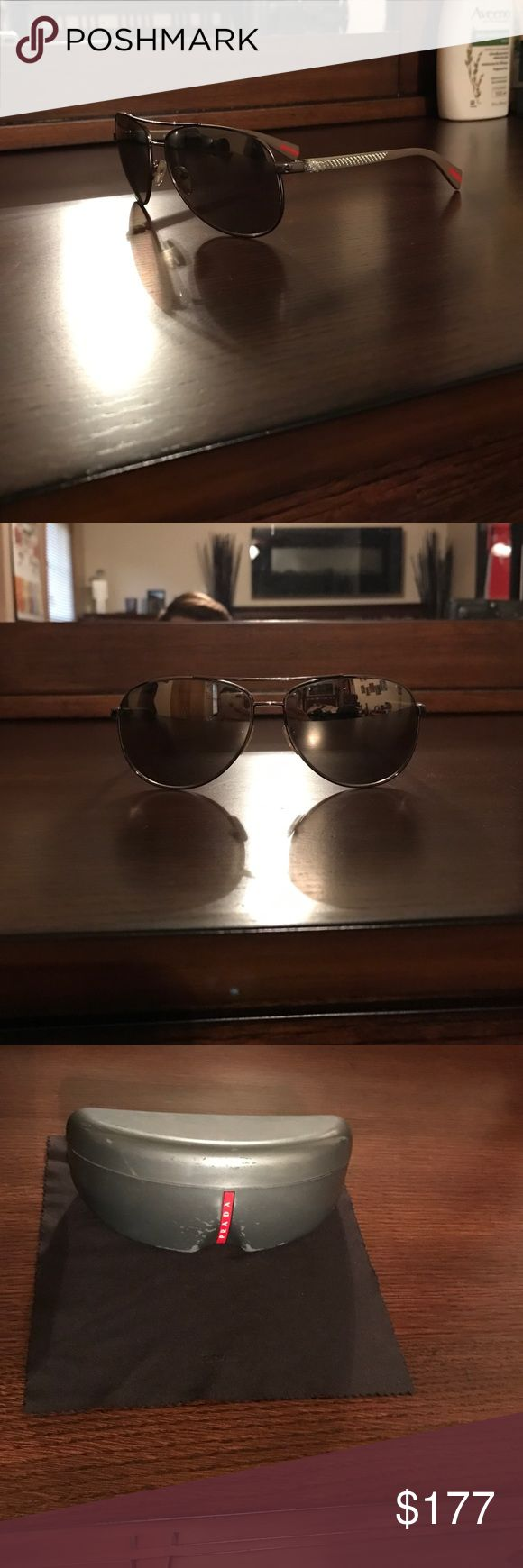 Prada mirrored aviators Used large framed Prada aviators with mirrored non polarized lenses comes with case and cleaning cloth. Prada Accessories Sunglasses