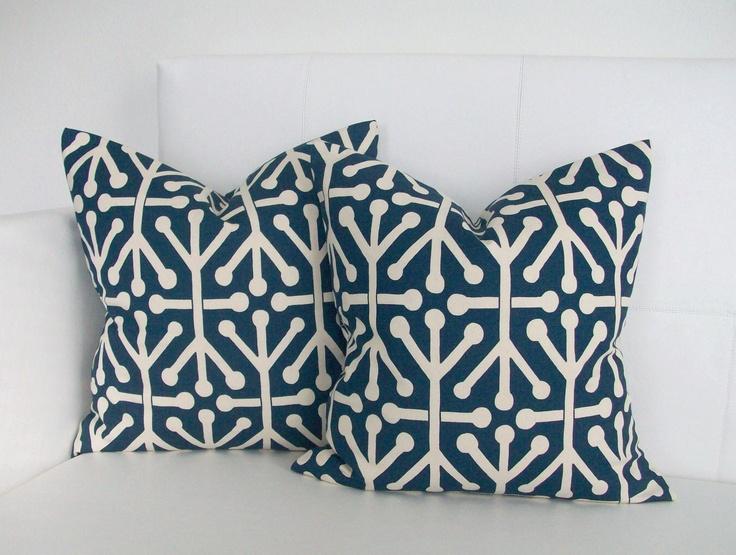 20x20 Throw Pillows Covers : Navy Jacks - Decorative Throw Pillow Covers for Throw Pillows - 20x20 or 22x22 Pair. $40.00, via ...