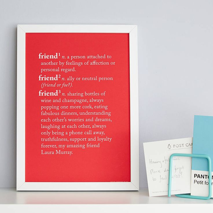Personalised 'Friend' Dictionary Print from notonthehighstreet.com