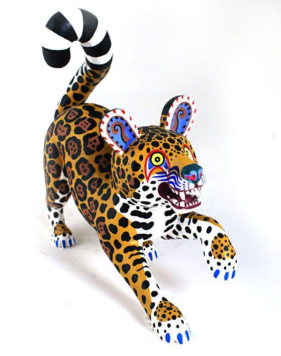 Oaxacan Wood Carvings Miguel Gil Santiango Leopard