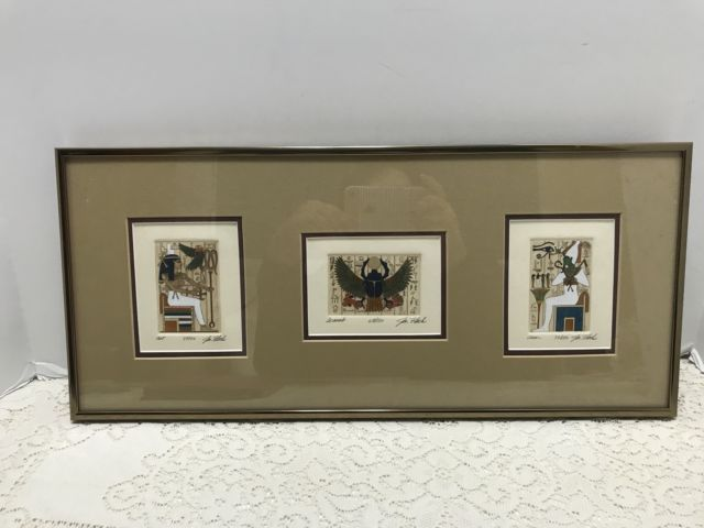 Jan Fleck Egyptian Triple Etching Limited Edition Signed Framed Scarab Asar Ast  | eBay