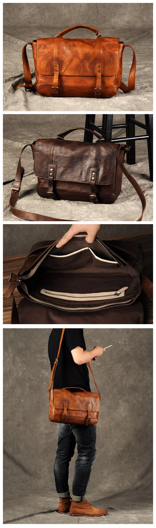VINTAGE GENUINE LEATHER SHOULDER BAG,HANDMADE LEATHER BRIEFCASE GZ001