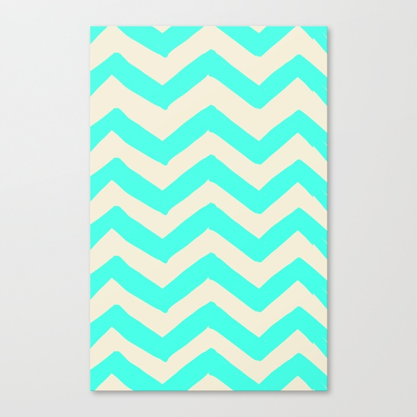 TURQUOISE CHEVRON PRINT Stretched Canvas by MEROE | Society6