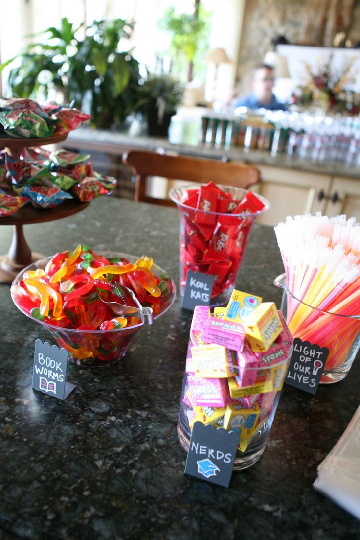 Graduation Themed Candy Bar! Each treat has a different school themed name, perfect for a grad party.