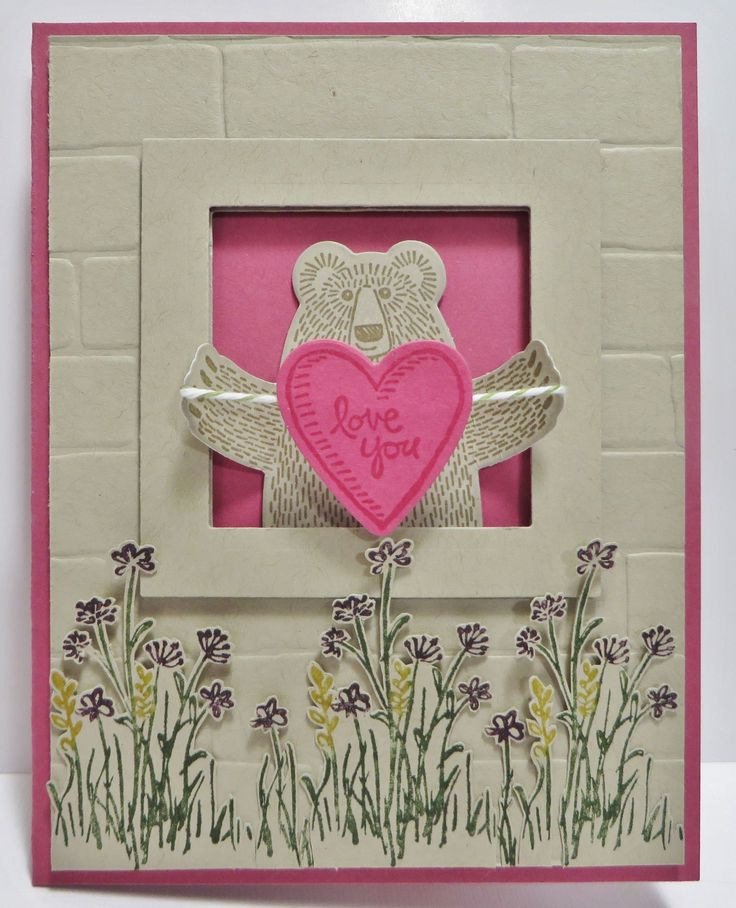 Stampin' Up Bear Hugs Card created by Lynn Gauthier using SU Bear Hugs Stamp Set and SU Bear Hugs Framelits Dies. Go to http://lynnslocker.blogspot.com/2016/02/stampin-up-bear-hugs-in-meadow.html to see how this card was made.