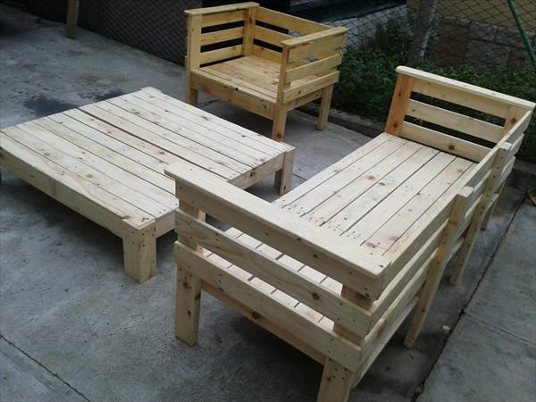 pallet+sofa+and+chair | produzida com palletes paines de madeira construido com palletes ...