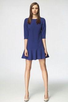 MISEBLA kobaltowa sukienka z falbaną