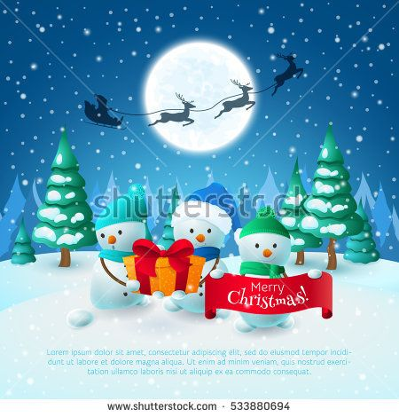 """Cartoon Snowmen with gift and banner with title """"Merry Christmas"""". Winter landscape with santa's sleigh, deers, trees and snow. Vector holiday poster."""